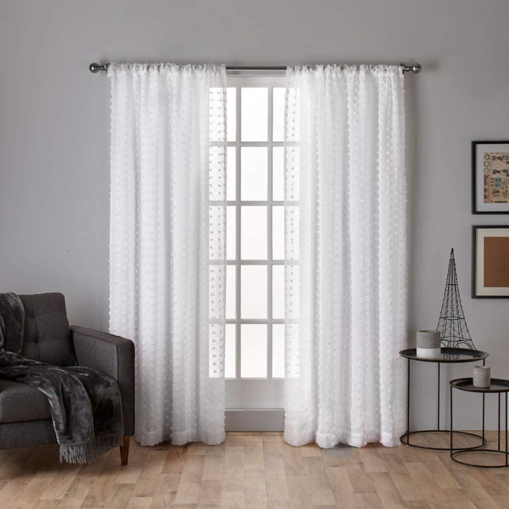 Exclusive Home Curtains Spirit Woven Pouf Applique Sheer Window Curtain Panel Pair with Rod Pocket, 54x108, Winter White, 2 Count
