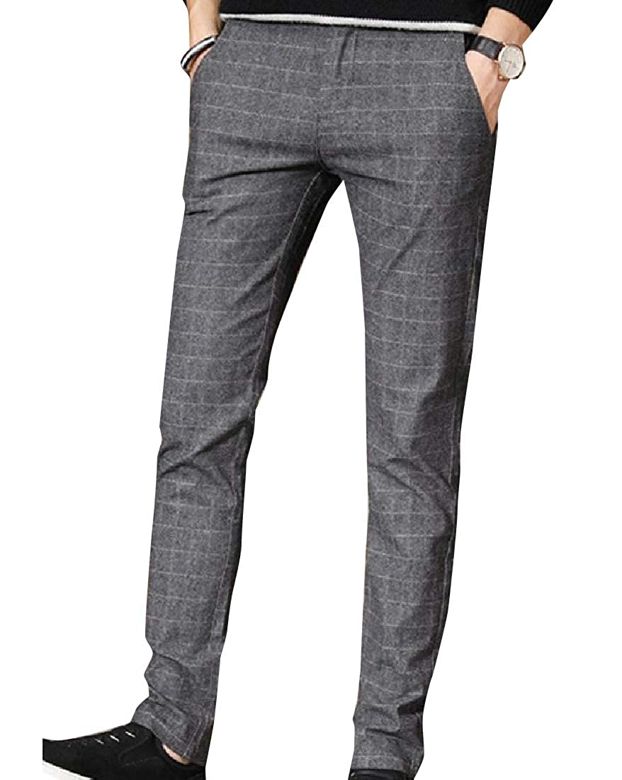 YUNY Mens Slim Casual Gingham Pull On Jogger Pants Pockets Grey 31