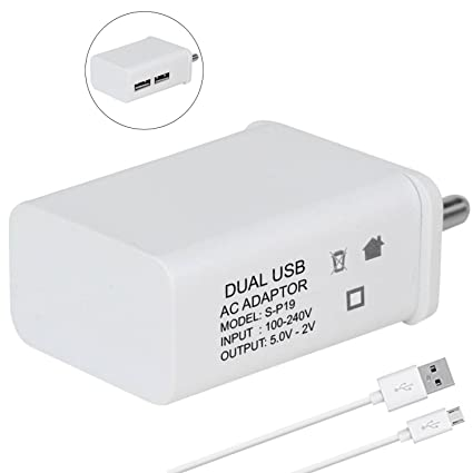 GoSale Plastic 2 Amp Dual Port Mobile Hi-Speed Charger Adapter with 1m  Micro USB for Lenovo K8 Note (White)