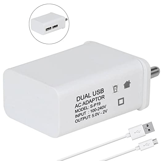 ShopsGoods 2A Dual Port Mobile Charger Adapter with 1 m Micro USB Charging Data Cable for Nokia 2  White  Chargers