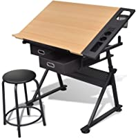 Tidyard Two Drawers Tiltable Tabletop Drawing Table with Stool Height Adjustable Drafting Draft Desk Drawing Table Desk…