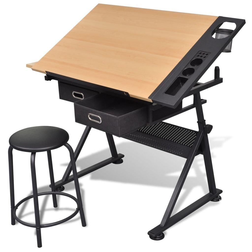 vidaXL Table à Dessin Inclinable 2 Tiroirs et Tabouret Bureau d'Ecriture product image