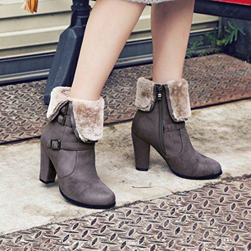 AIYOUMEI Damen Blockabsatz Ankle Boots mit Reißverschluss High Heels Stiefeletten mit Schnalle Grau