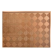 """Fasade Easy Installation Miniquattro Polished Copper Backsplash Panel for Kitchen and Bathrooms (18"""" x 24"""" Panel)"""