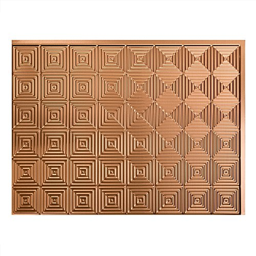 Fasade Easy Installation Miniquattro Polished Copper Backsplash Panel for Kitchen and Bathrooms (18