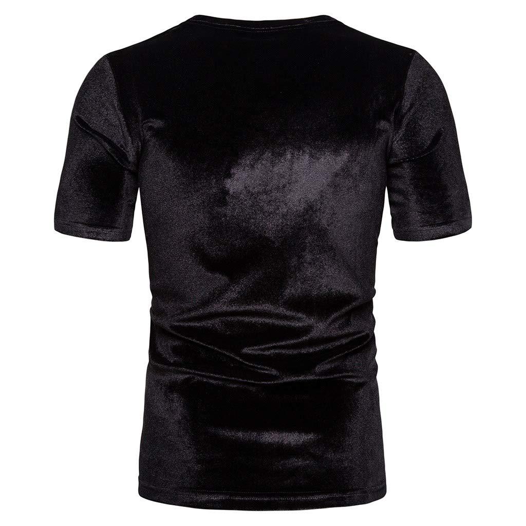 Tralounry Mens Velvet Crew Neck Mordern-Fit Pure Short-Sleeve T-Shirt Top