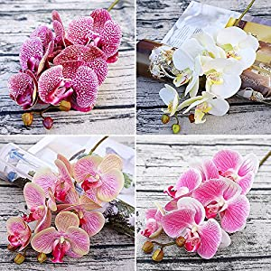 TRRAPLE Real Touch Butterfly Orchid Flowers, 3 Branches Artificial Phalaenopsis Flowers Branches, Artificial Silk Flowers for Home Office Wedding Decoration 45