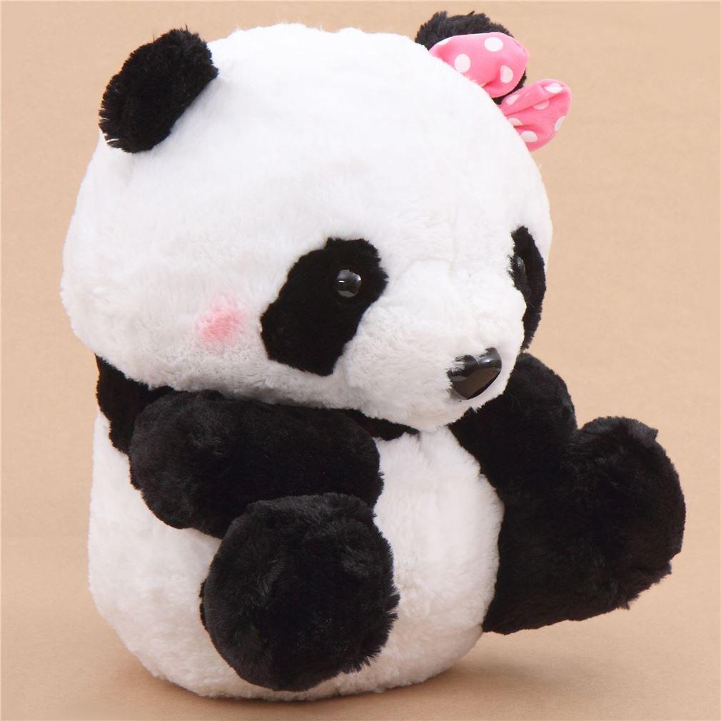 Gran peluche panda blanco negro con lazo rosa muñeco con ruido de Japón: Amazon.es: Juguetes y juegos