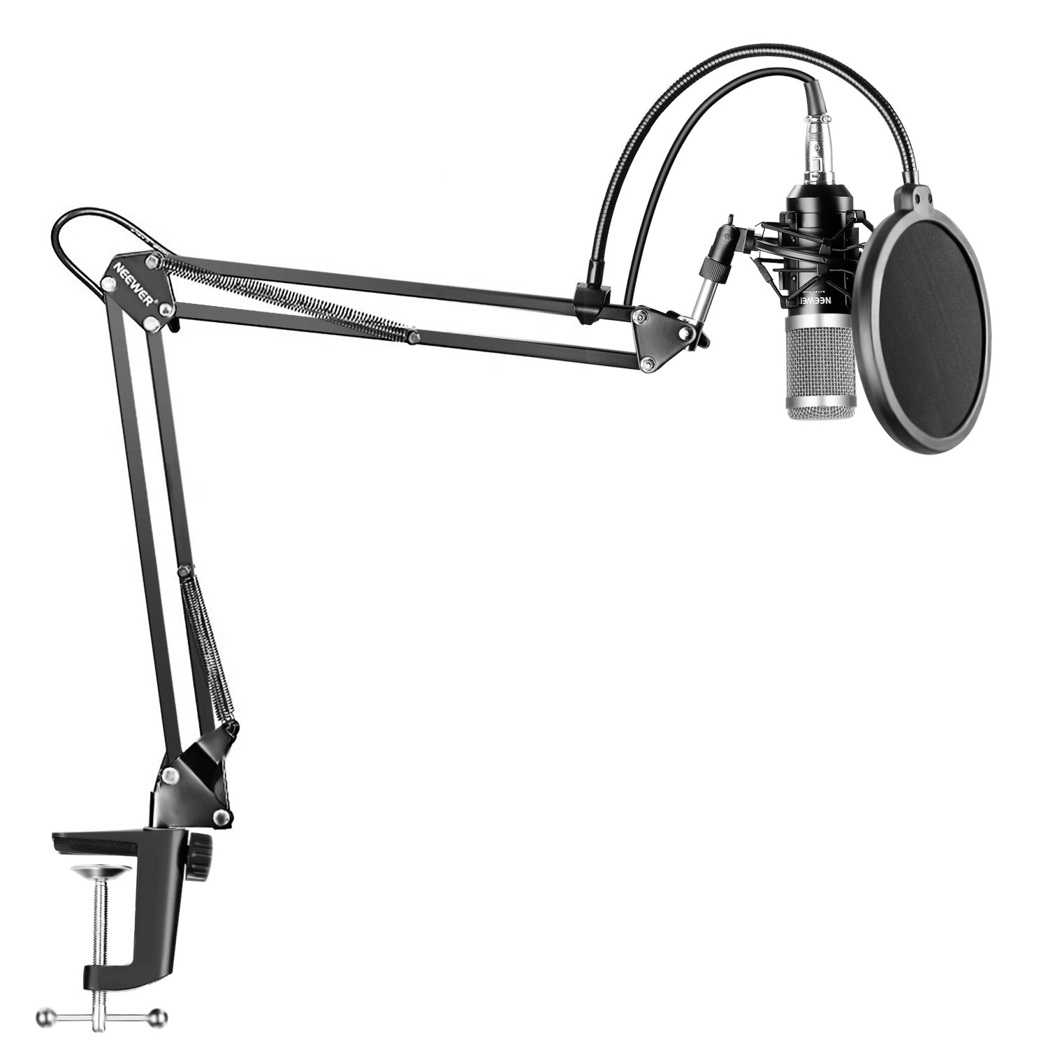 Neewer NW-800 Silver Professional Studio Broadcasting Recording Condenser Microphone & NW-35 Adjustable Recording Microphone Suspension Scissor Arm Stand with Shock Mount and Mounting Clamp Kit 40091937