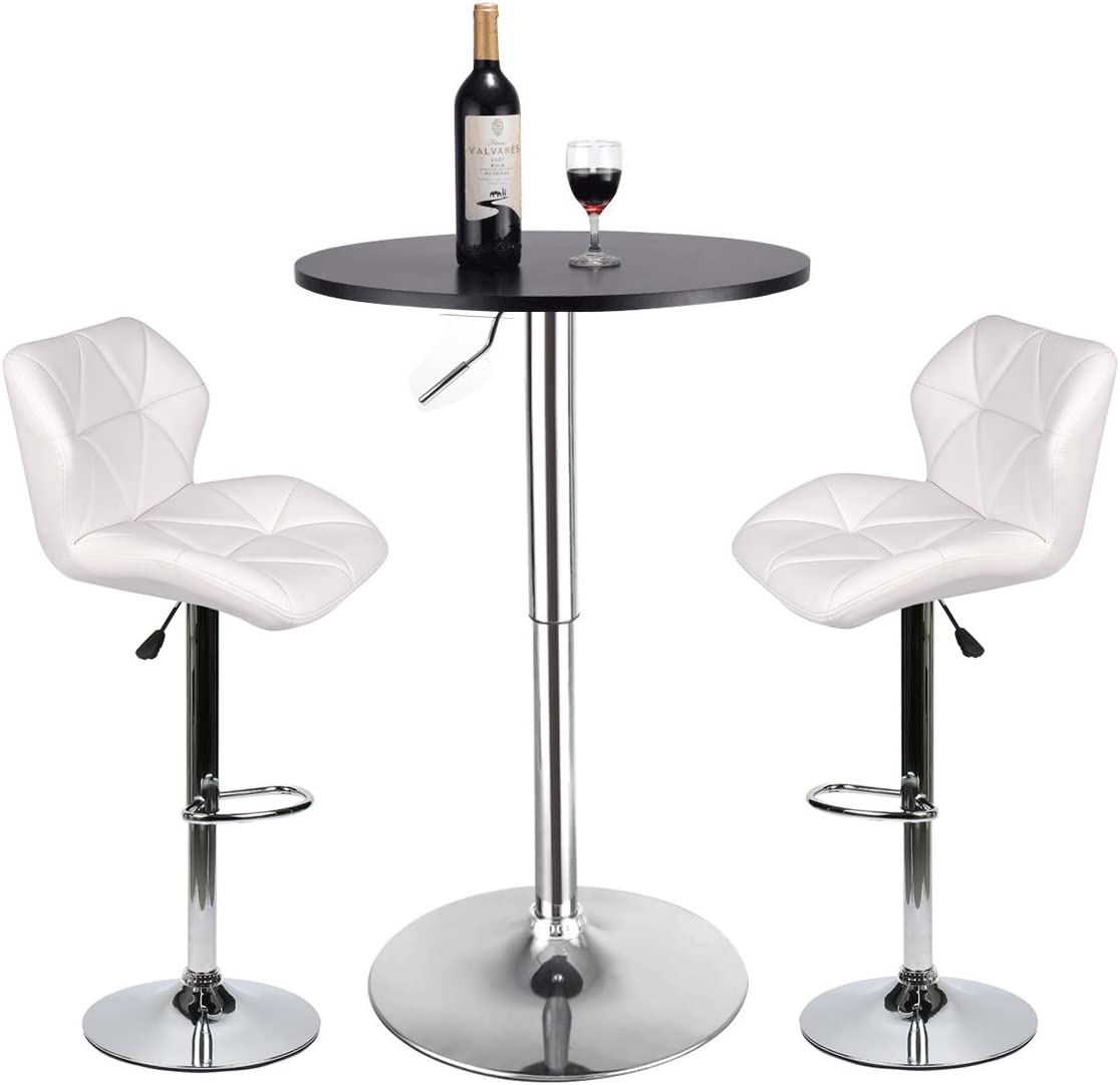 Bar Table and Chairs Set of 8 – Heigh Adjustable Round Table and 8 Swivel  White Pub Stools for Dining Room Home Kitchen Bistro(Set 8)