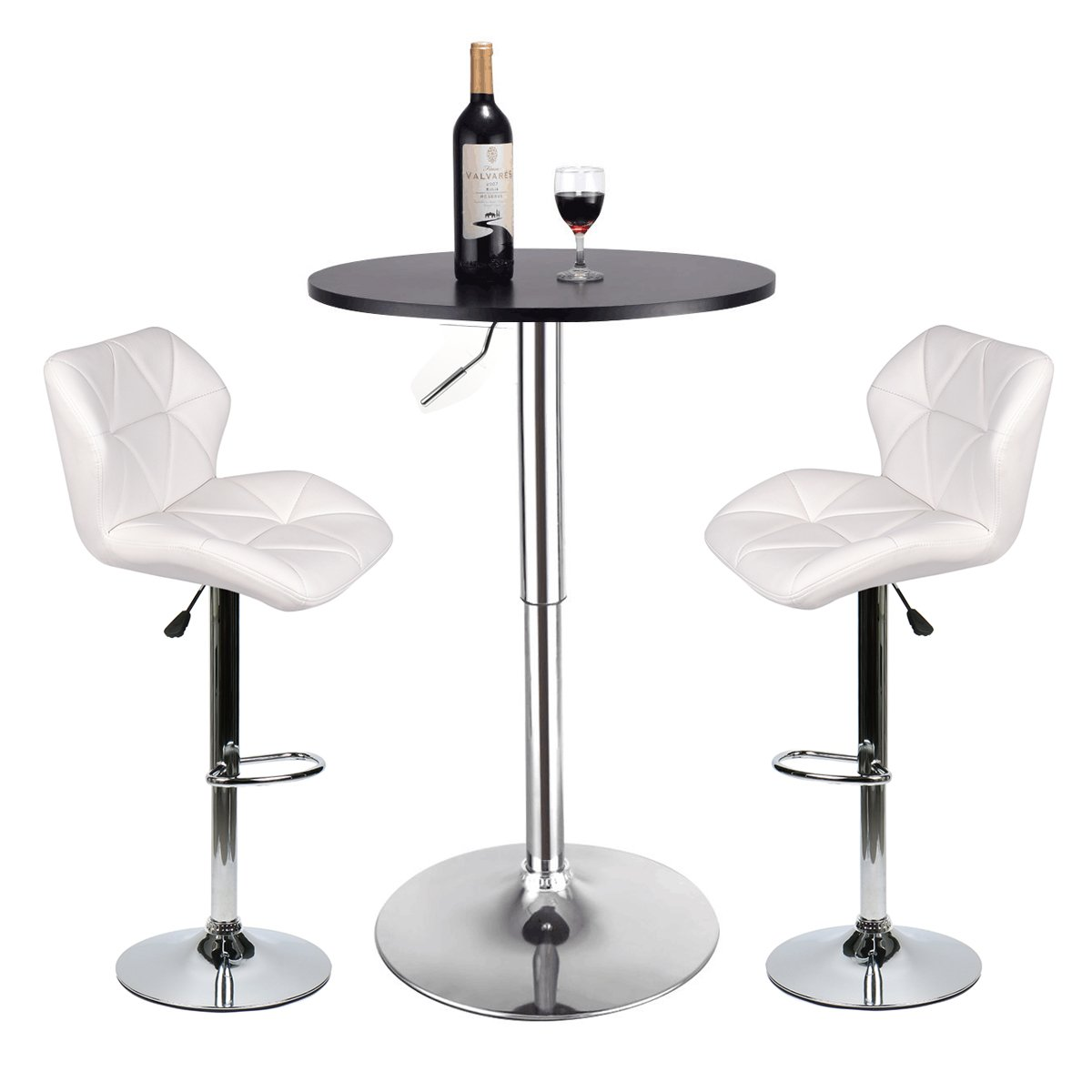 Bar Table and Chairs Set of 3 – Heigh Adjustable Round Table and 2 Swivel White Pub Stools for Dining Room Home Kitchen Bistro(Set 7)