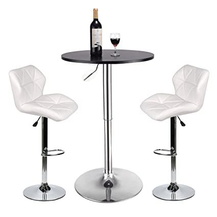 Amazon Com Bar Table And Chairs Set Of 3 Heigh Adjustable Round