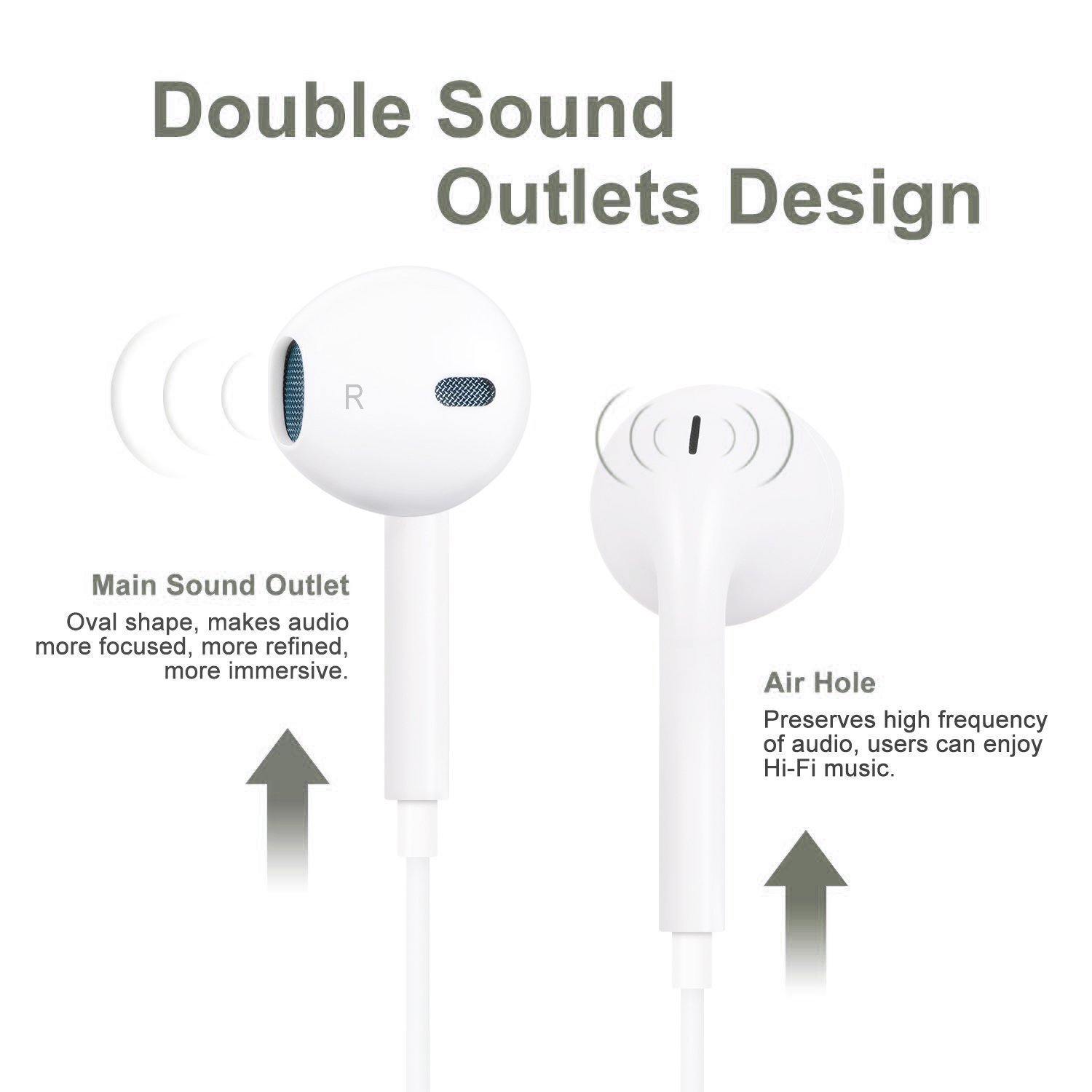ruanwenchuzhen Earphones Earbuds Headphones, Premium in-Ear Wired Earphones with Remote Mic Compatible Apple iPhone White 2Pack