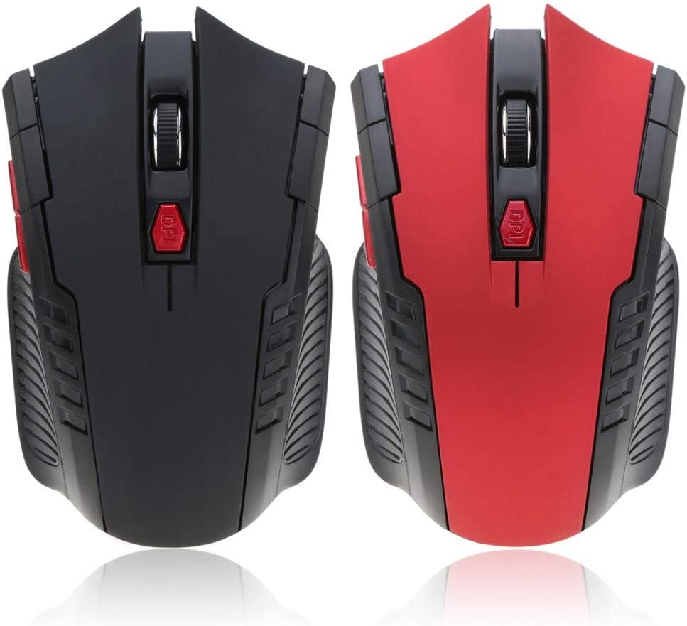 AntPower 2.4G Wireless Gaming Mouse Portable 2400DPI Adjustable Optical For PC-red