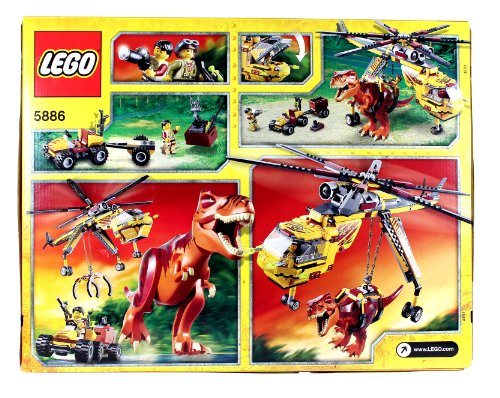 Lego Year 2012 DINO Series Set# 5886 : T-REX HUNTER with Helicopter, Scout  Vehicle, T-Rex Dinosaur and 2 Hero Minigifures (Total Pieces: 480) by Dino:  ...