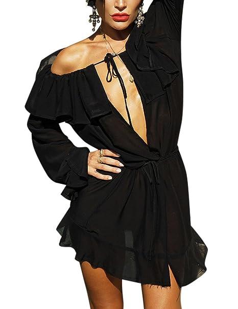 Zantec Blusa transparente para Las mujeres de moda fuera del hombro vestido profundo V cuello gasa vestido de gran tamaño: Amazon.es: Ropa y accesorios