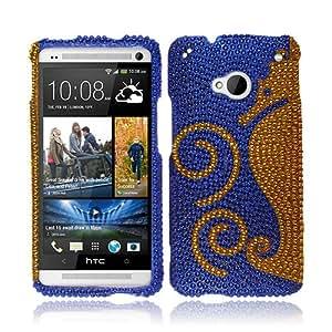 NextKin Bling Crystal Full Rhinestones Diamond Case Protector For HTC One M7, Dark Blue Gold Seahorse