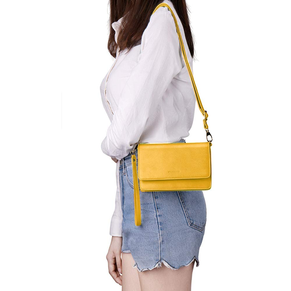 nuoku Women Small Crossbody Bag Cellphone Purse Wallet with RFID Card Slots 2 Strap Wristlet(Max 6.5'') … (Yellow) by nuoku (Image #8)