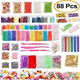 Mucus Supplies Kit, 88 Packs Including Fishbowl Beads, Fruit Flakes, Sequins, Fish Tank Beads, Slime Tools, Colored Round Pearls, Colorful Candy Paper Accessories, Slime Making, Children's Party Set