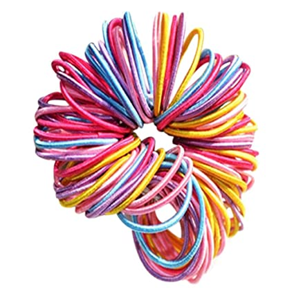 Westeng 100Pcs Girls Children Elastic Hair Ties Hair Bands Ponytail Holders  Thin Multi-color Hair Elastics  Amazon.co.uk  Beauty dc277eaf009