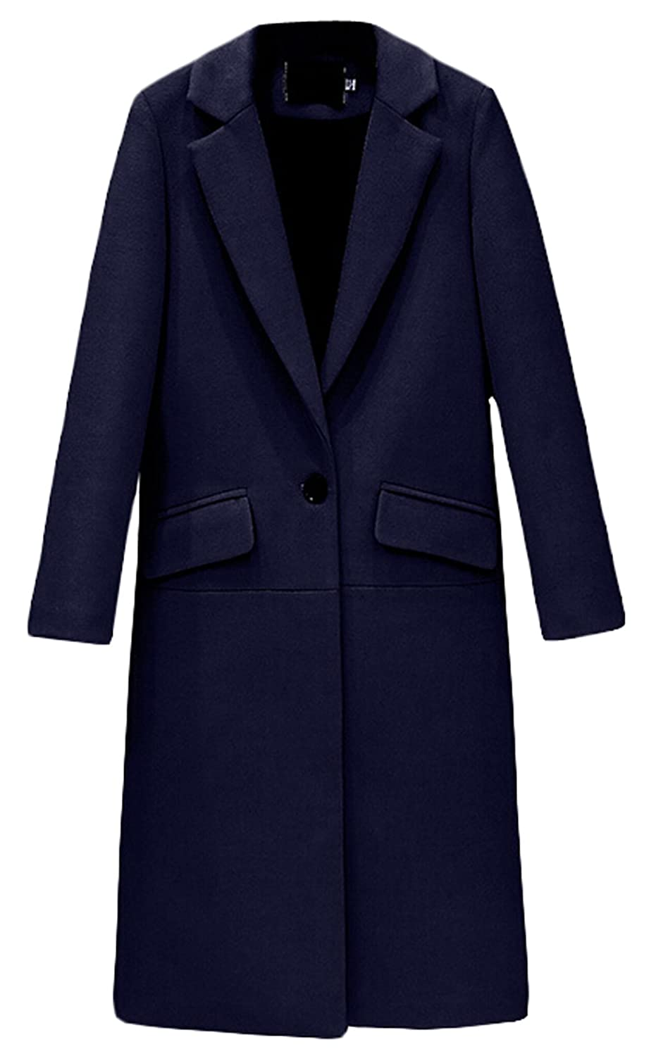 Alion Women Winter Button Elegant Wool Pea Coat