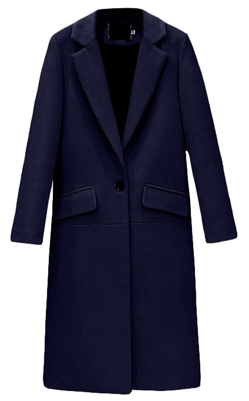 ouxiuli Women's Winter Lapel Casual Wool Peas Coat