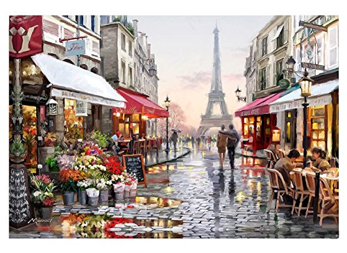 Paint By Number Kits Diy Canvas Oil Painting for Kids, Students, Adults Beginner – Romantic Paris Street 16x20 inch with Brushes and Acrylic Pigment ()