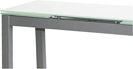 MOMMA HOME Mesa de Cocina Extensible - Modelo Novi - Color Blanco/Plata - Material Cristal Templado/Metal - Medidas 85/135 x 40 x 76 cm: Amazon.es: Hogar