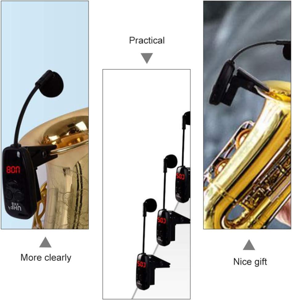 Supvox 1 Set Microfono per Sassofoni Wireless Microfono per Strumenti Musicali Clip-On Amplificatore Vocale per Altoparlanti Musicali con Clip per Ricevitore