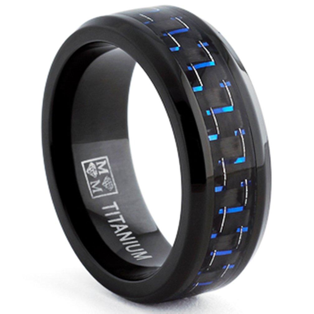 Amazon Oliveti Black Titanium Men's And Blue Carbon Fiber Fort Fit Band 8mm Size 8 Everything Else: Black Wedding Bands Him At Websimilar.org