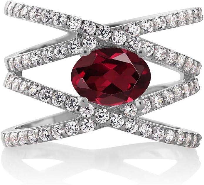 1.41 Ct Red Rhodolite Garnet White Created Sapphire 925 Silver Men/'s Ring