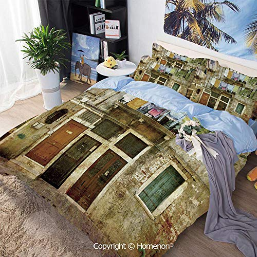 Three-Piece Bed,Old Weathered Building Facade with Hanged Clothes Murano Island Grunge Architecture,Full Size,Include 1 Quilt Cover+2 Pillow case,Multicolor