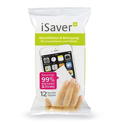 isaver + Toallitas desinfectantes, desinfectante & Lavado de humedad para smartphone, tablet, teclado