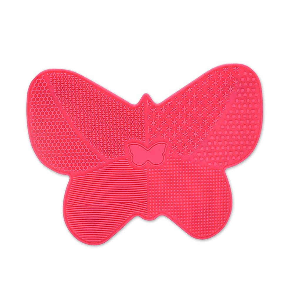 Dolovemk Makeup Brush Cleaning Mat,Beauty Sponge Blender Cleanser Pad,Silicone Makeup Cleaning Brush Scrubber Mat Butterfly-Shaped,Portable Washing Tool Scrubber with Suction Cup(Red)