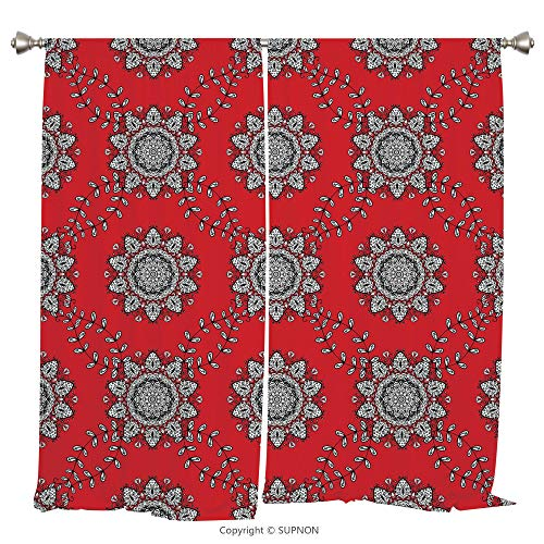 Rod Pocket Curtain Panel Thermal Insulated Blackout Curtains for Bedroom Living Room Dorm Kitchen Cafe/2 Curtain Panels/84 x 84 Inch/Red Mandala,Sketchy Leaves Swirl Ivy Victorian Mesh Design Inspired