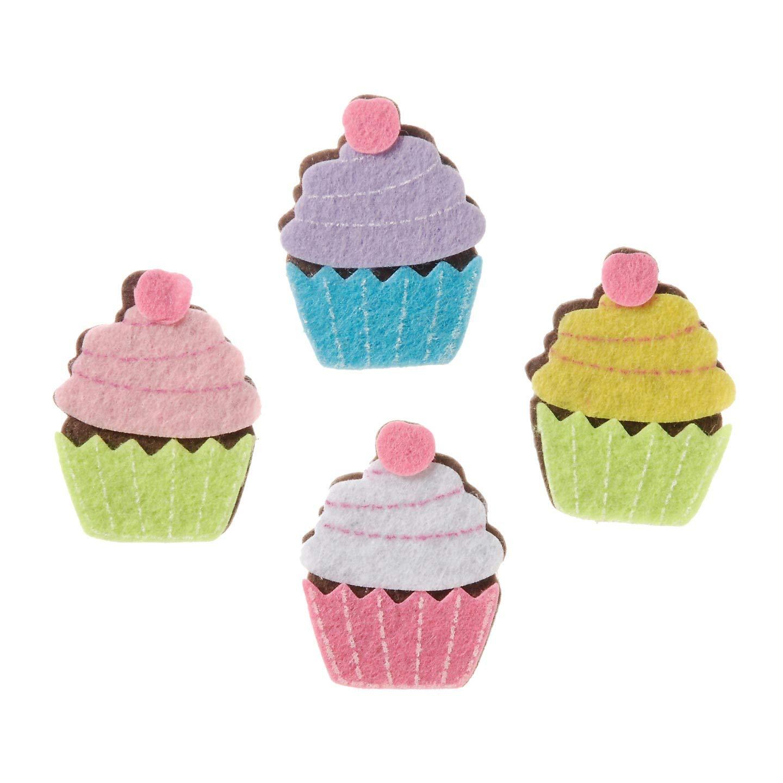 Darice Crafts for Kids Felties Felt Stickers Cupcake 12 pieces Bulk Buy 3-Pack FLT-2802 Inc.