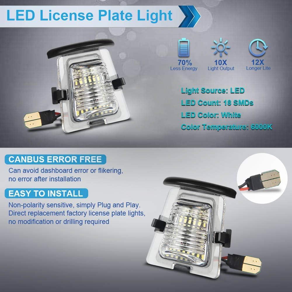 MbuyDIY LED License Plate Light Lamp Assembly Compatible with 2007-2018 Wrangler JK 6000K White