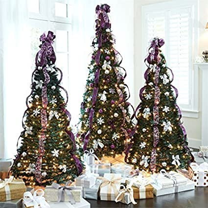 Brylanehome 6 Pre Lit Pop Up Christmas Tree Purple Silver 0