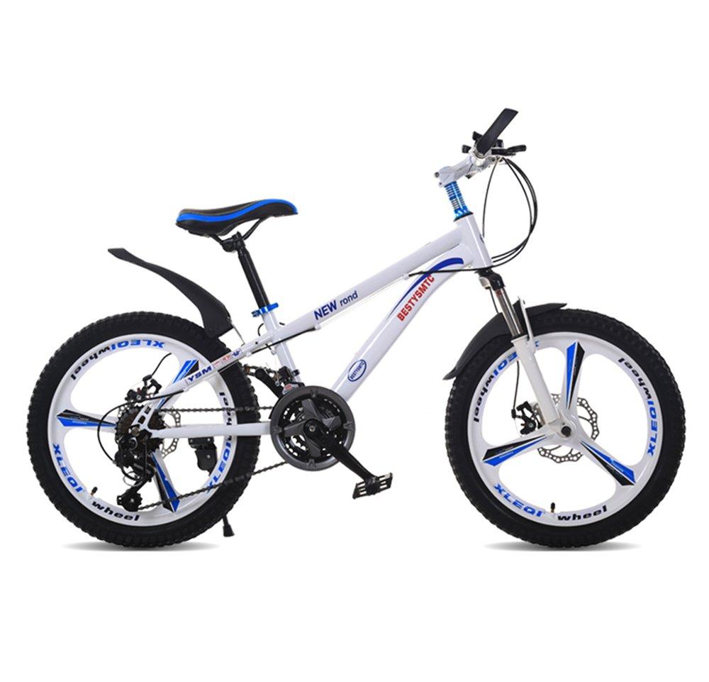 美しい 家子供の自転車20インチのスピードマウンテンバイク6-10-11-12歳の少年女子二重ディスクブレーキ(多色オプション) (色 : 白) B07D1P941S 白 白