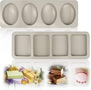 WYBG Silicone Soap Molds, Square Oval, 4-Cavity Silicone Molds for Pudding, Muffin, Loaf,ice cube,Brownie, Cornbread, and Cheesecake, Loaf Soap Molds