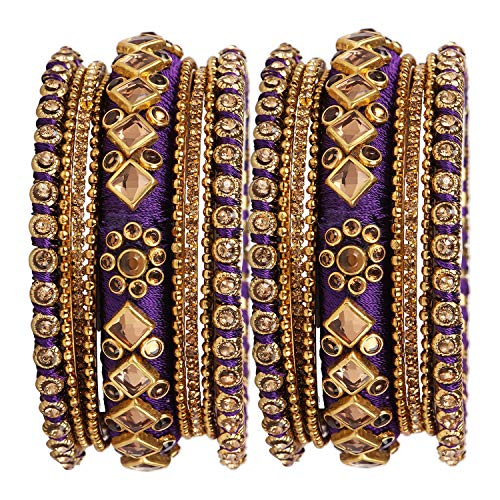 Accessorisingg Traditional Indian Silk Thread Bangles with Kundan Design Wedding Parties for Women Set of 18 in Purple [TBN011-2.4] ()