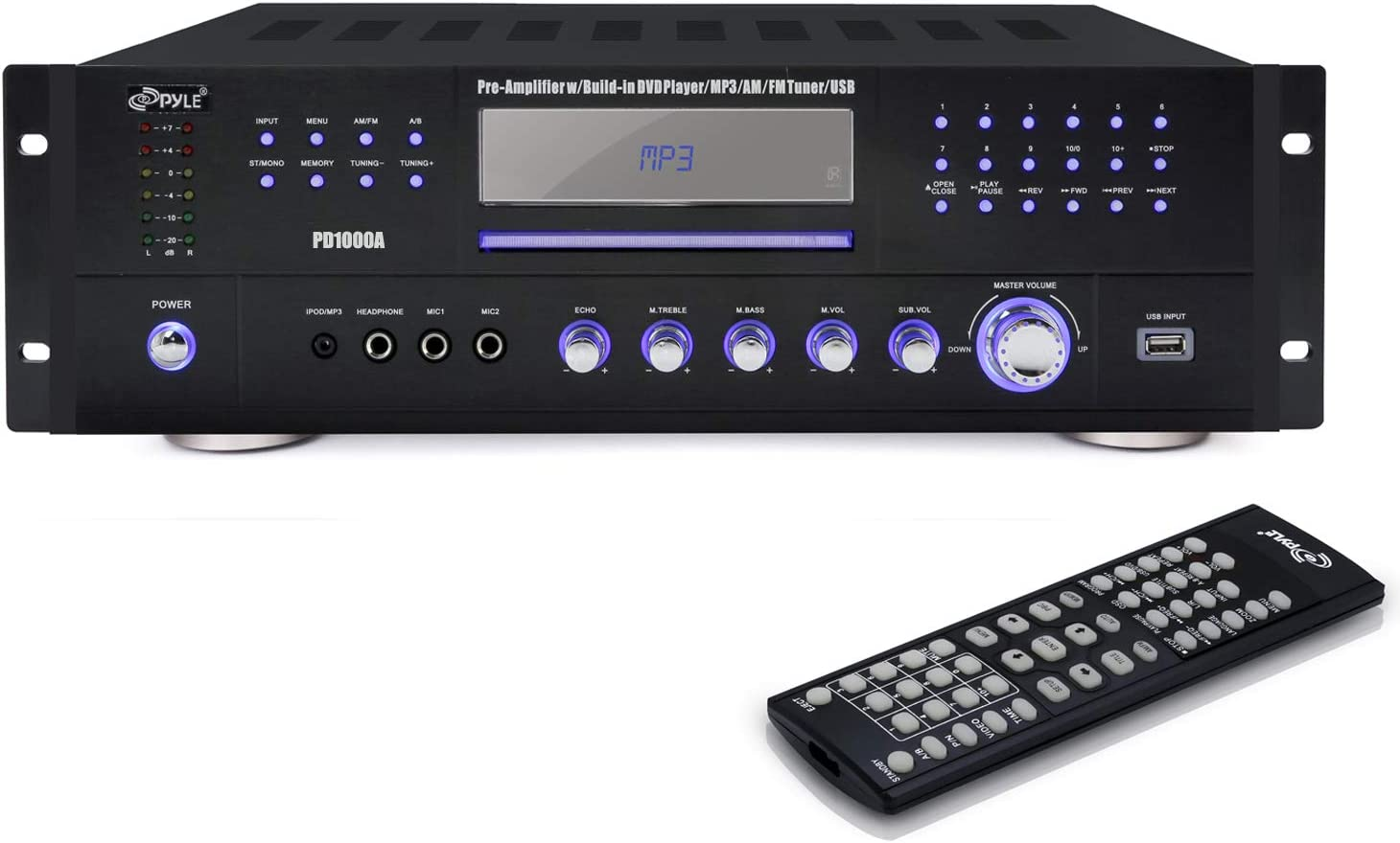 4 Channel Pre Amplifier Receiver - 1000 Watt Compact Rack Mount Home Theater Stereo Surround Sound Preamp Receiver W/Audio/Video System, CD/DVD Player, AM/FM Radio, MP3/USB Reader - Pyle PD1000A.5