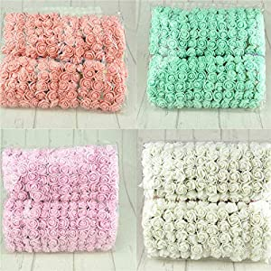 Aosreng 144Pcs/Lot Mini Multicolor Pe Rose Artificial Foam Rose Bouquet Wedding Home Decoration Scrapbooking DIY Wreath Fake Flower 90