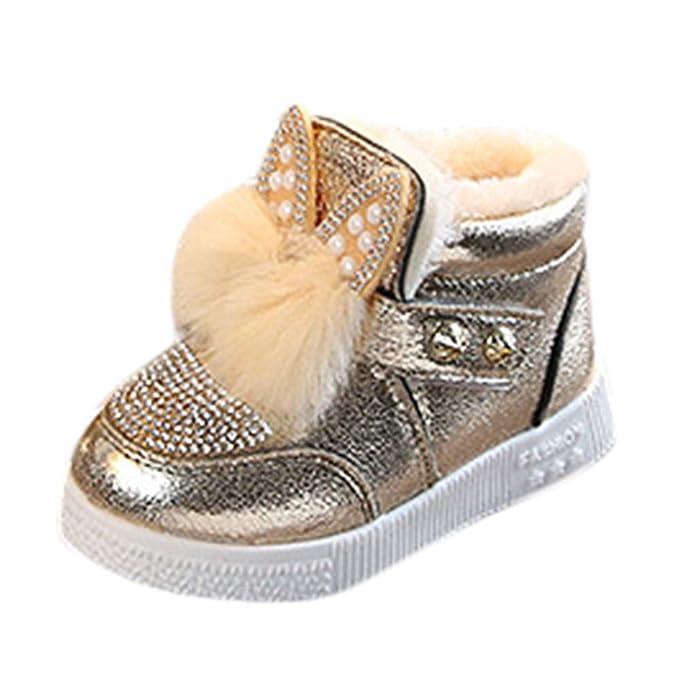 YanHoo Zapatos para niñas pequeñas Niños más algodón cálido Zapatos niñas Orejas de Conejo Peludos Zapatos Princesa Zapatillas de Deporte Chicas Calientes ...
