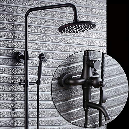 (XUEME Bathroom Wall Mounted Shower Set Tub Faucet with Handheld Spray Oil Rubbed Bronze Shower System)