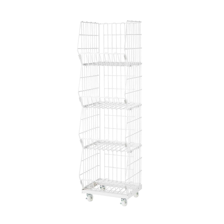 Tragbarer Schwerlast Gitter-Korbst/änder// Schmale Ausf/ührung// Wei/ß// 4-stufig