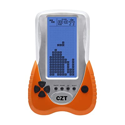New CZT 4.1 inch Big Blue Backlight Screen Brick Game Console Support Headphone Built-in 23 Game Block Game Classic Leisure Puzzle Children Gift Toy Powered 3AAA Battery Power (not Included) (Orange): Computers & Accessories