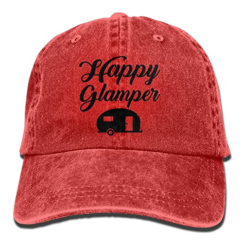 Cap Denim Headgear (Happy Glamper - Camping Outdoors Glamping Stretch Fit Woman's Cotton Denim Soft Cowboy Stetson headgear Low Profile Red)