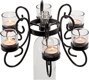 Oenophilia Afterglow Candelabra Reserva - Beautiful Wine Bottle Candle Holder - Includes Glass Tea Candle Holders, Black