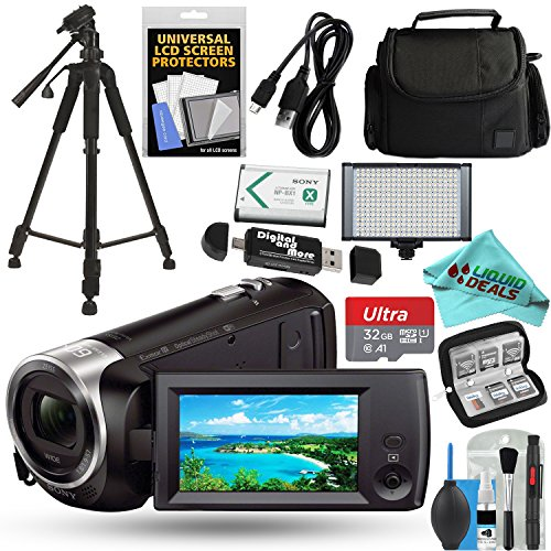 Sony Handycam HDR-CX440 8GB Wi-Fi 1080p HD Video Camera Camcorder with 32GB Card + Case + LED Light + Battery + Tripod + Liquid Deals Cleaning Solution Kit Bundle by Liquid Deals